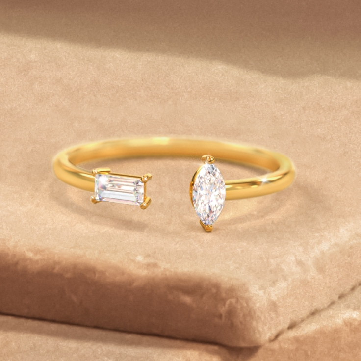 Baguette & Marquise Gemstone Open Cuff Ring