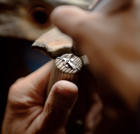 Man setting a ring